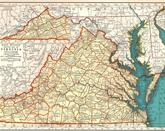Virginia State Map Etsy - State of va map