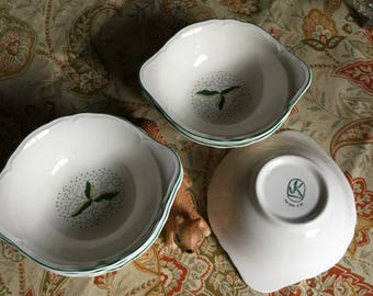 Six-1950's Edwin Knowles Dancing Leaves Cereal/Lugged Soup Bowls-Amazing Condition