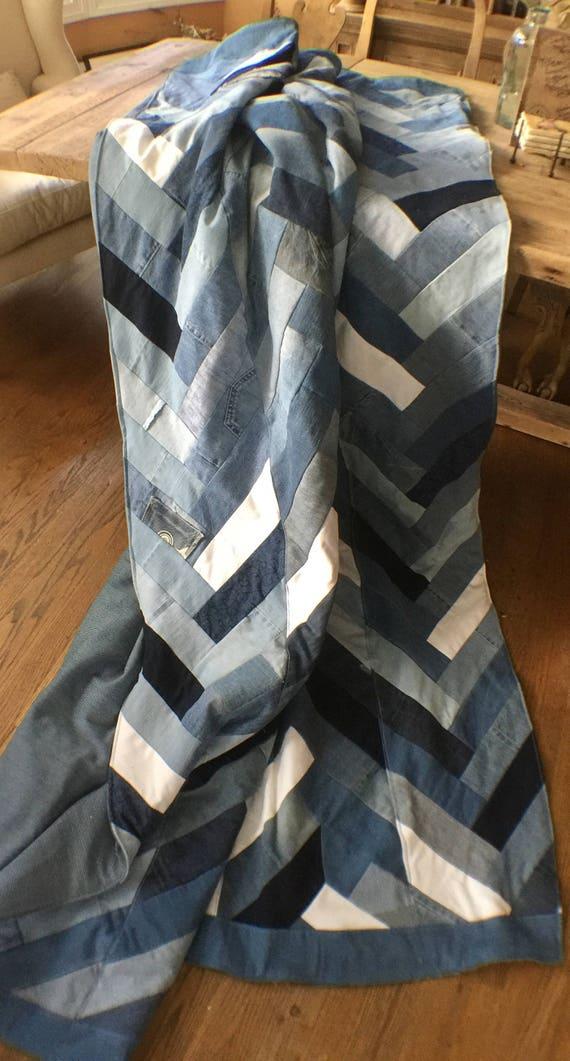 Recycled Denim Chevron, Herringbone, Comforter, Blanket, quilt,Jean, Blue Jean, recycled denim blanket