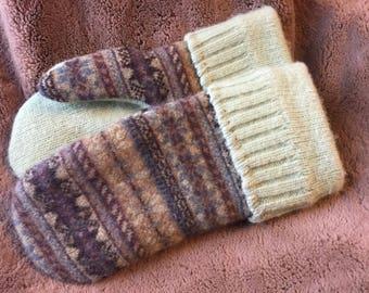 100% Wool Sweater Mittens