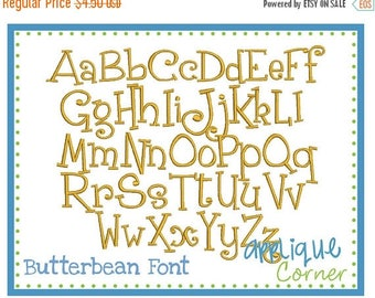 50% Off 1068 Butterbean Embroidery Font in bx, jef, dst, pes ONLY digital design for embroidery machine by Applique Corner