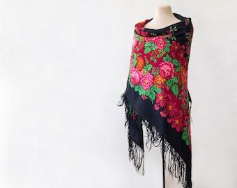 black Russian shawl, black shawl, red shawl, Russian scarf, roses and rowan berries, piano shawl, designer shawl, bohemian wrap NWOT