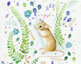 sweet little mouse among the ferns and flowers original watercolor painting 12 x 12