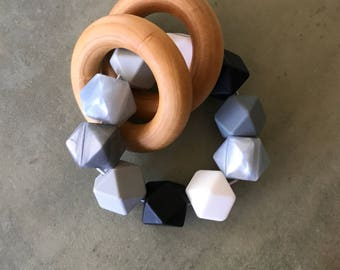 Teething Ring Sensory Teether Wood Silicone Teething Toy