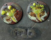 yellow fireworks on brown with matte disc glass lampwork jewelry supplies 2pc 4ophelia