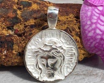 Jesus medal. Sterling silver.