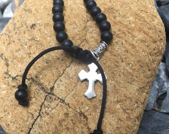 Black onyx cross bracelet for men. Sterling silver.