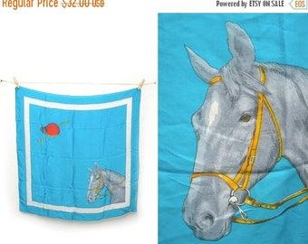 ON SALE 70s Silk Horse Equestrian Scarf Medium Large Square Blue