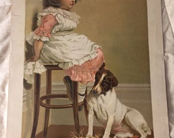 "1895 Victorian Lithograph Print ""In Disgrace"" by Charles Burton Barber Little Girl in Corner Knapp Co Lith Co"