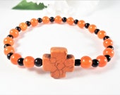 Orange Jade Cross Bracelet, Cross Jewelry, Orange and Black Christian Bracelet, Boho Chic Christian Jewelry Womens Jewelry, Fashion Bracelet