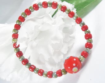 Red and Green Baby Bracelet, Young Girls Bracelet, Young Girls Jewelry, Girls Gifts, Girls Jewelry, Kids Bracelet, Baby Jewelry Kids Jewelry