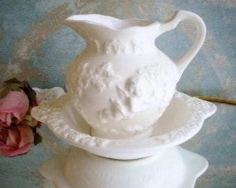 Vintage Milkglass Ceramic Pitcher And Bowl With Cherubs,Lefton/Bud Vase/Vintage Wedding/Vanity Decor/Shabby Chic Cottage/Beige White
