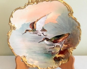 17% OFF SALE Limoges Bird Plate/France Antique Plate/1900 Game Plate/Limoges Birds Artist RENE/Art Nouveau Plate/Gold Trim Limoges Game Plat