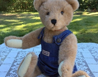 "17% OFF SALE Boyd's Teddy Bear/Boyd's Collection Bear/Archive Series #1364/Lt Brown with Denim Overalls/16""Jointed Bear/90's Collectible Bea"