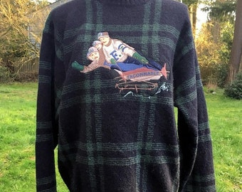 17% OFF SALE Faconnable Wool Sweater/4 Man Sled Graphic/Green Plaid Sweater/Unisex Wool Pullover/Mens M Womens L/Crew Neck Shetland Wool/ Wi