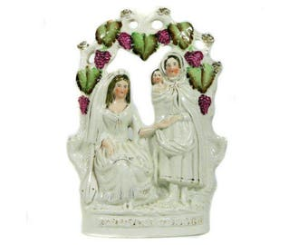 Large 19th Century Staffordshire Flat Back Figurine Fortune Teller