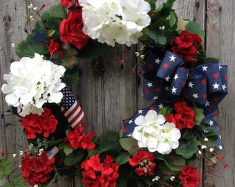Patriotic Wreath, Summer Wreath, Red, White and Blue Wreath, Americana Wreath, Geranium Wreath, Memorial Day Wreath, 4th of July Decor