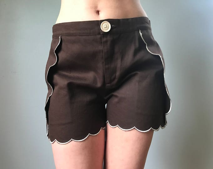 Scalloped Trim Chocolate Shorts