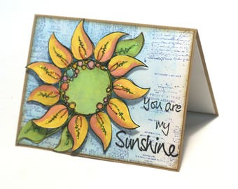 Yellow sunflower collage card, you are my sunshine blank card, summer flower, floral note card, hello