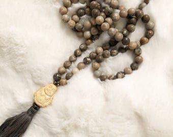 Lucky Buddha Mala Bead Necklace; mala beads