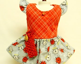Cat Print Sun Dress For 18 Inch Doll Like The American Girl