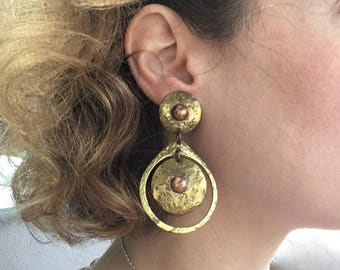 Vintage Modernist Earrings - Hammered Brass and Copper - Pericles D'Haiti - Statement Earrings