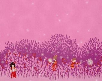 Wee Wander: Sarah Jane - Summer Night Lights Border Print in Pink 1 yard cut.