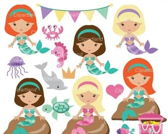 ON SALE INSTANT Download. Mermaids clip art. Cm_51. Personal and commercial use.