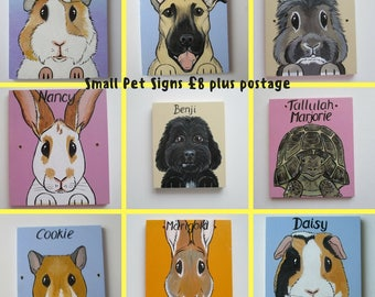 Personalised Pet Sign Small with cartoon style portrait picture of your animal rabbit guinea pig cat dog goat horse hamster etc