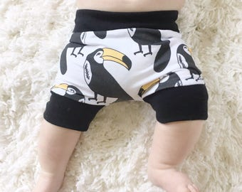 Handmade Hipster Baby Shorts | Baby Shorts | Baby Harems | Harem Shorts | Baby Girl Shorts | Baby Boy Shorts | Tropical Toucan