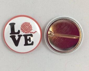 """Yarn Love - 1"""" Pinback Button"""