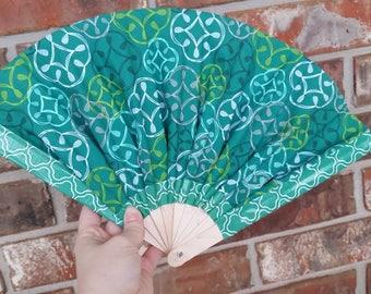 Celtic Flowers Hand Fan