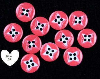10 buttons round resin sewing Scrapbooking beautiful Fuchsia color