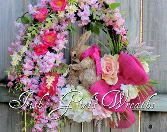 Spring Wreath, Large Hanging Cherry Blossoms Bunny Rabbit Wreath, Easter Floral Wreath, Pink Yellow Wild Rose, Hydrangea, Mother's Day