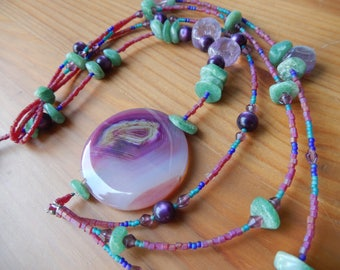 Purple and Green Asymmetrical Beaded Necklace - Hippie, Funky, Boho, Earthy, Natural - Women's Necklace, One of a Kind