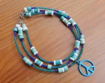 Beaded anklet - 3 strands of beads with peace sign charm - blue/green/purple - hippie, peace, love, boho