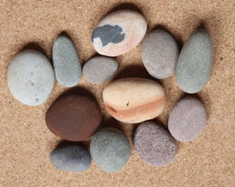 Scottish beach pebbles wishing stones home decor aquarium embellishment (A66)