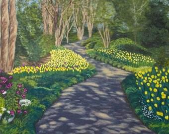 Yellow Tulip Garden Path