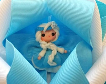 Elsa Hair Bow....Frozen inspired Hair Bow...Blue and White Bow...White and Blue Bow...Aqua Blue Bow
