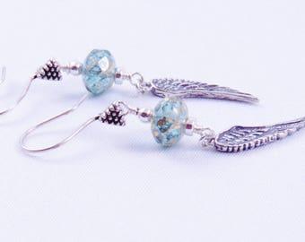 Sterling Silver Angel Wings Earrings, Aqua Blue Dangle Earrings, Czech Glass Earrings Aqua Blue Dangle Earrings