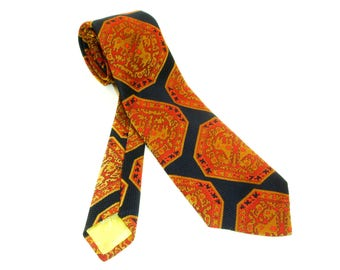 1970s Wide Polyester Tie Mens Vintage Disco Era Blue, Red & Gold 100% Imported Polyester Woven Textured Necktie by John Frederics
