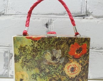 ON SALE Monet Purse. Impressionist Clutch.One of a Kind Decoupage Handbag. Floral Stills of Sunflowers and Anemones. Portable Art for Your W