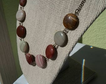 Statement piece.  Imperial jasper beads on an antique gold chain.