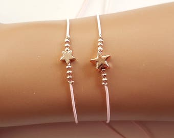 Mother daughter bracelet, mother daughter set, wishing bracelet, Mother's Day Gift, mommy & me, star bracelet, rose gold jewelry