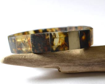 Amber Men Bracelet / Dark Brown Amber Jewelry / Silver Sterling Amber For Him / Gift For Men