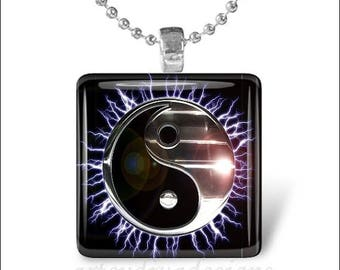 10% OFF JUNE SALE : Metallic Yin Yang Electric Sun Black Silver Glass Tile Pendant Necklace Keyring