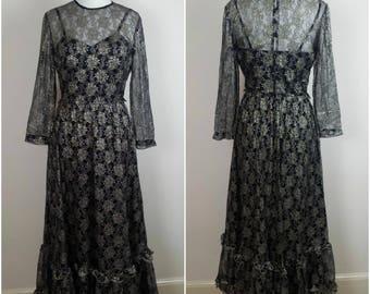 Vintage 1970s Evening Dress - Black Gold Lace 70s Maxi Dress - Studio 54 Dress - 70s Party Dress - Small - UK 10 / US 6 / EU 38
