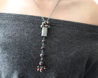 Anne Choi grapes bead necklace garnet and pearls necklace long boho holiday necklace sterling silver wine lovers necklace OOAK woodland fall