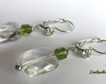 Crystal quartz or rock crystal earrings