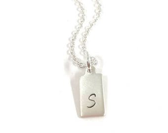 SALE - Initial Tag Necklace - Sterling Silver Custom Jewelry - Personalized Tag Necklace